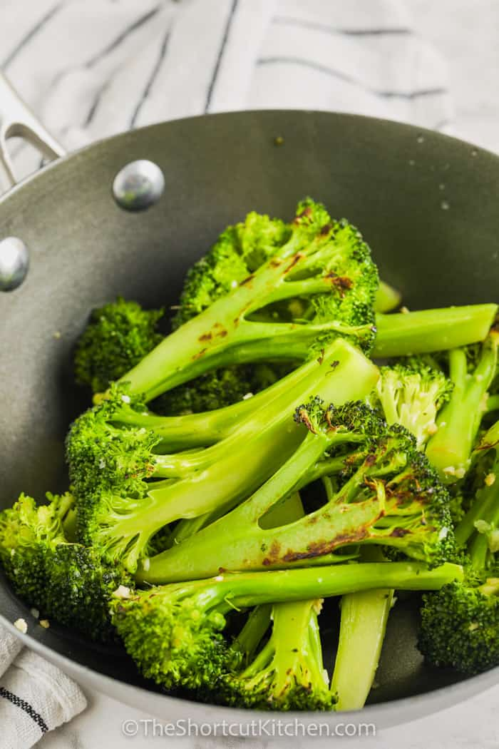 cooked Stir Fried Broccoli in a bowl