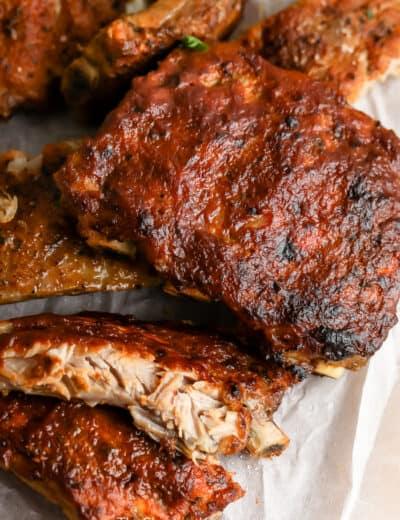 crispy crock pot ribs on parchment paper