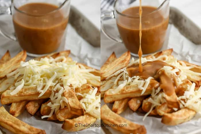 Making Disco Fries by adding cheese and then gravy to the cooked fries