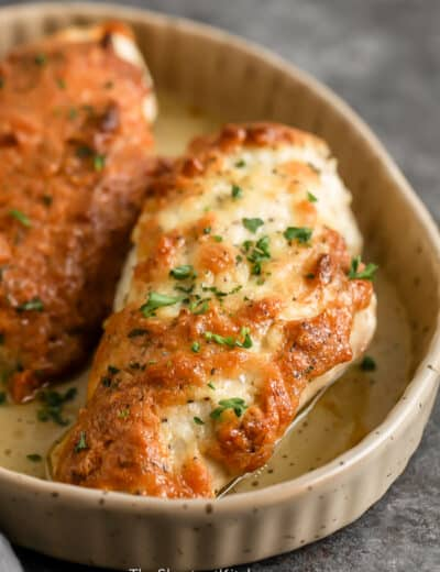 cooked Melt In Your Mouth Chicken in a baking dish