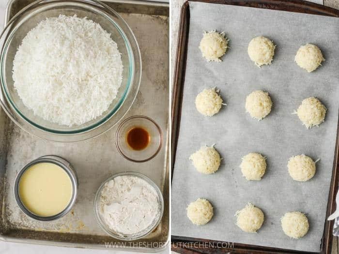 process of making Coconut Macaroons balls