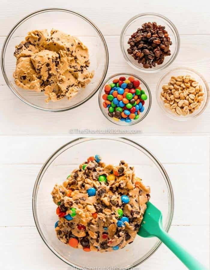 process of adding ingredients in a bowl and mixing to make Trail Mix Cookies