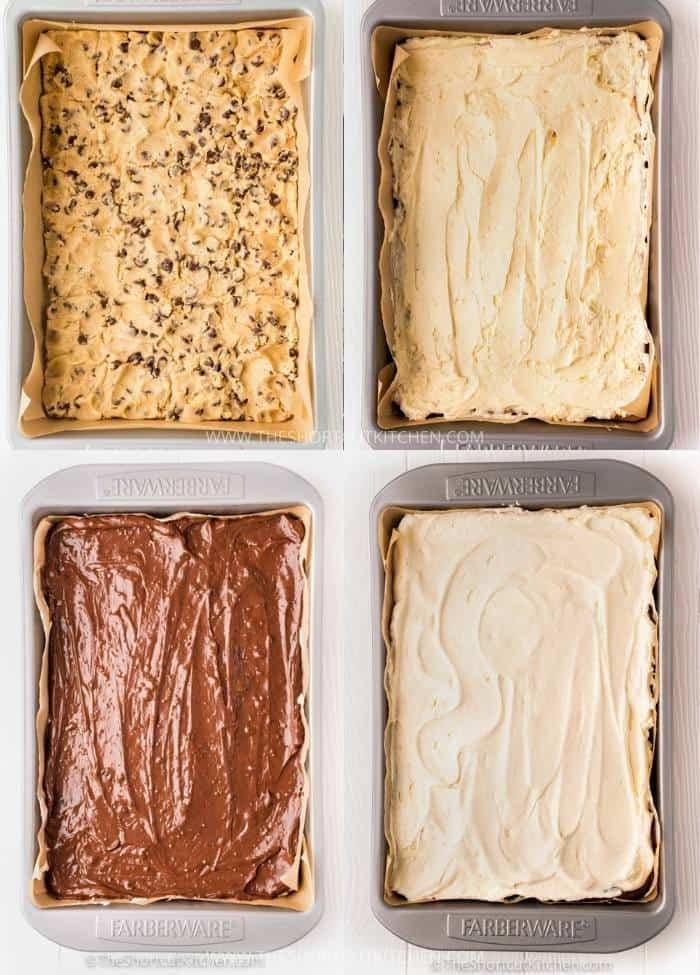 process of adding layers to Chocolate Chip Cookie Lasagna