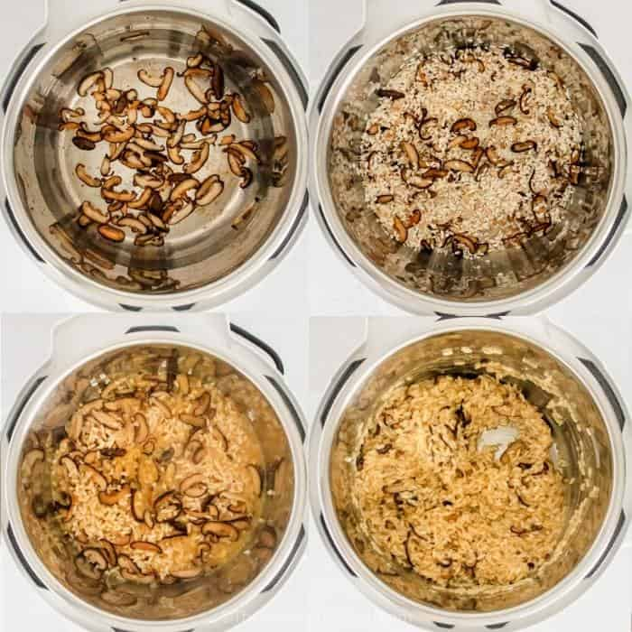 process of adding ingredients to instant pot to make Instant Pot Mushroom Risotto