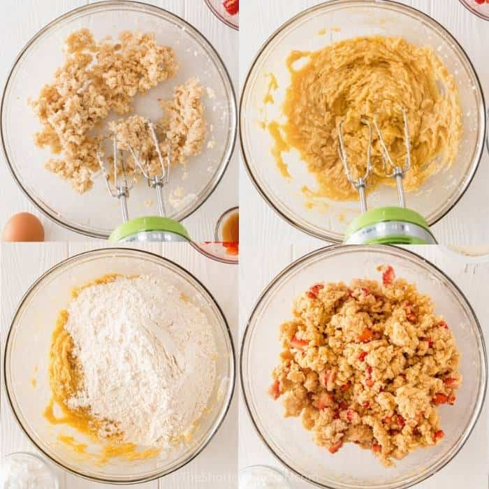process of adding ingredients together to make Strawberry Shortcake Bars