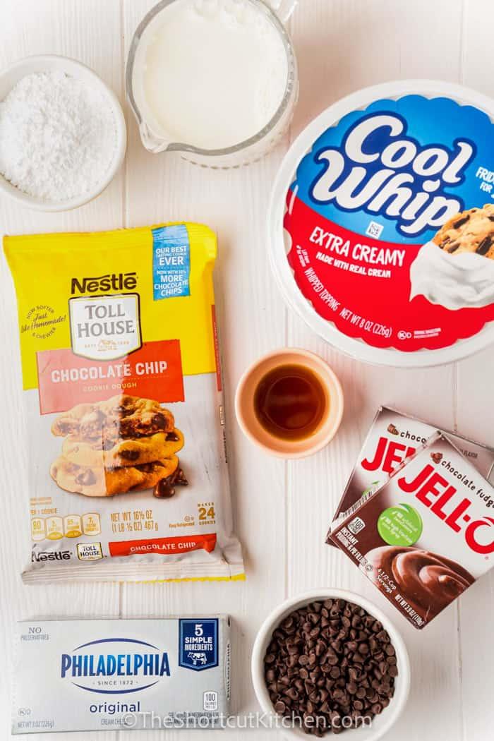 ingredients to make Chocolate Chip Cookie Lasagna