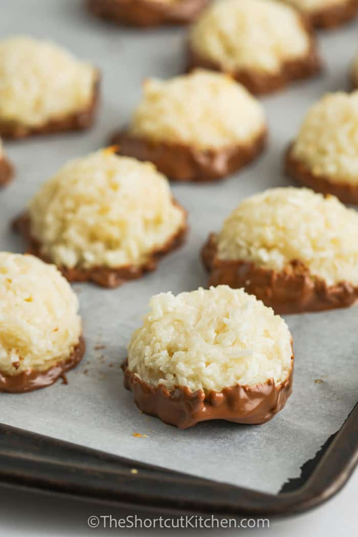 close up of Coconut Macaroons on a baking sheet