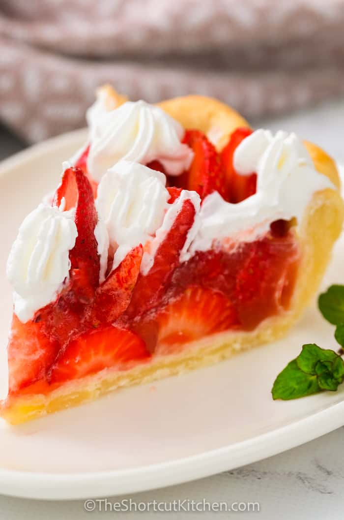 slice of Fresh Strawberry Pie on a plate