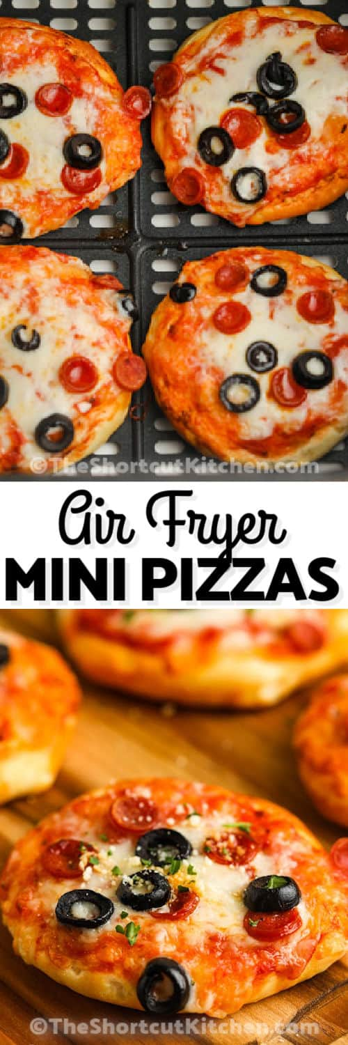 Air Fryer Mini Pizzas cooking and plated with a title