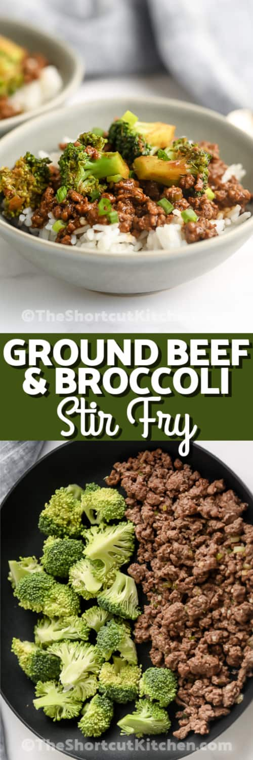 Top image - a bowl of Ground Beef and Broccoli Stir Fry. Bottom image - ground beef and broccoli in a frying pan