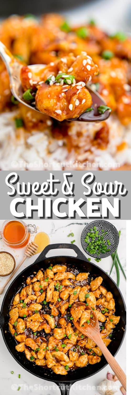 Sweet & Sour Chicken in a pan and in a bowl with a spoonful being scooped with text
