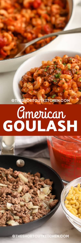 Top image - bowls of prepared American Goulash. bottom image - American Goulash ingredients