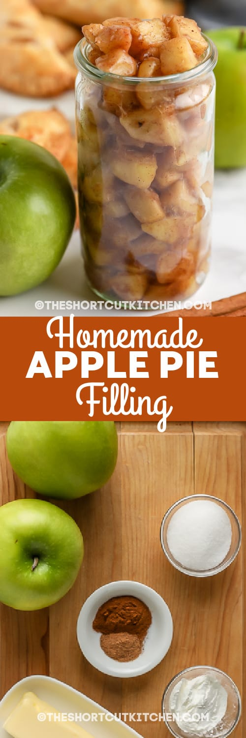 Homemade Apple Pie Filling and ingredients with text