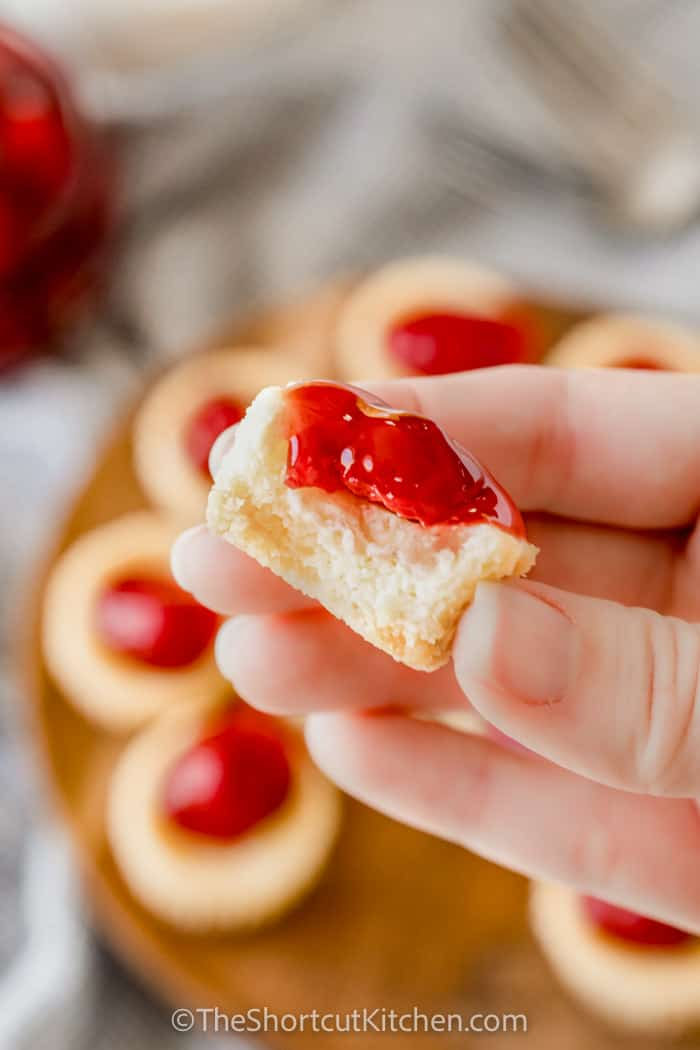 Mini Cheesecake Bites with a bite taken out of one