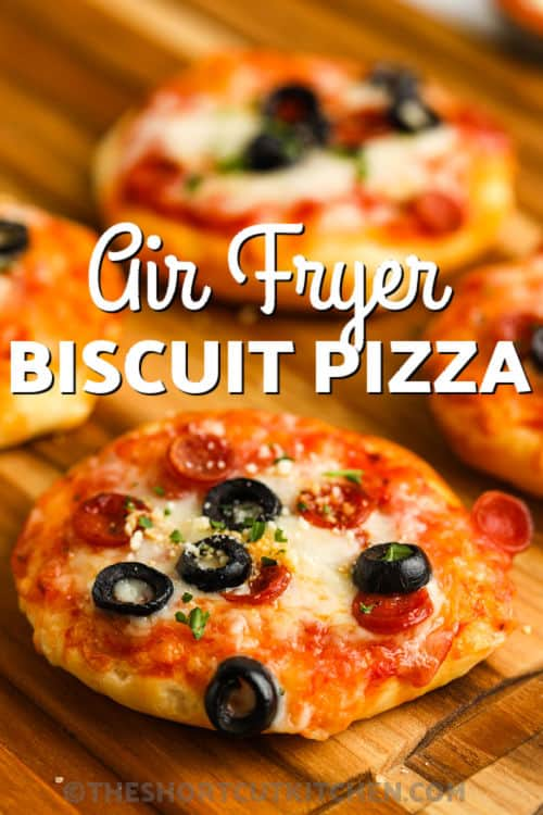 cooked Air Fryer Mini Pizzas with writing