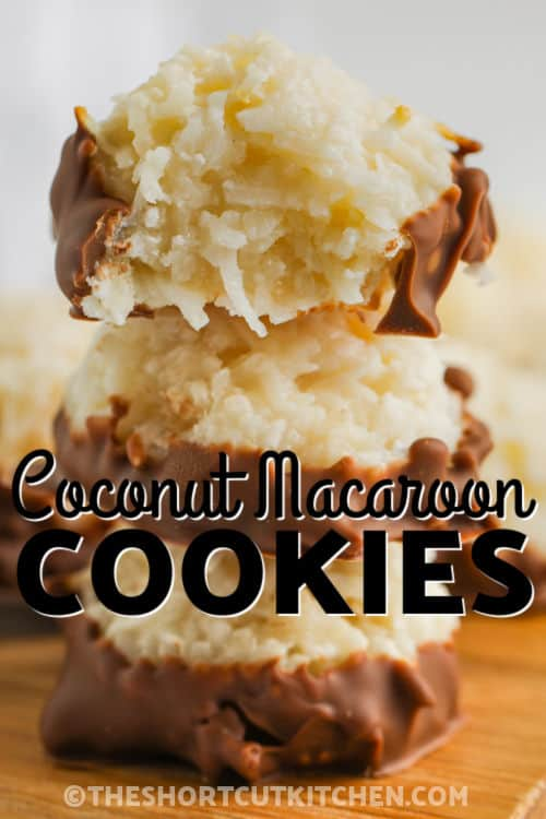 stack of Coconut Macaroon Cookies with writing