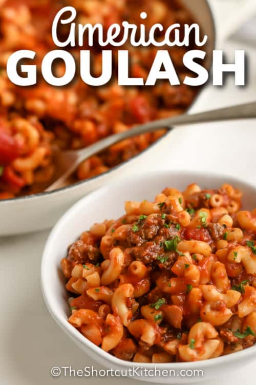 A serving of American Goulash with text.