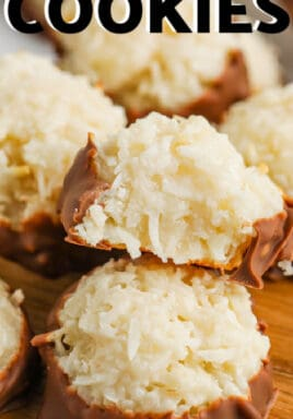 Coconut Macaroon Cookies with a bite taken out of one and a title