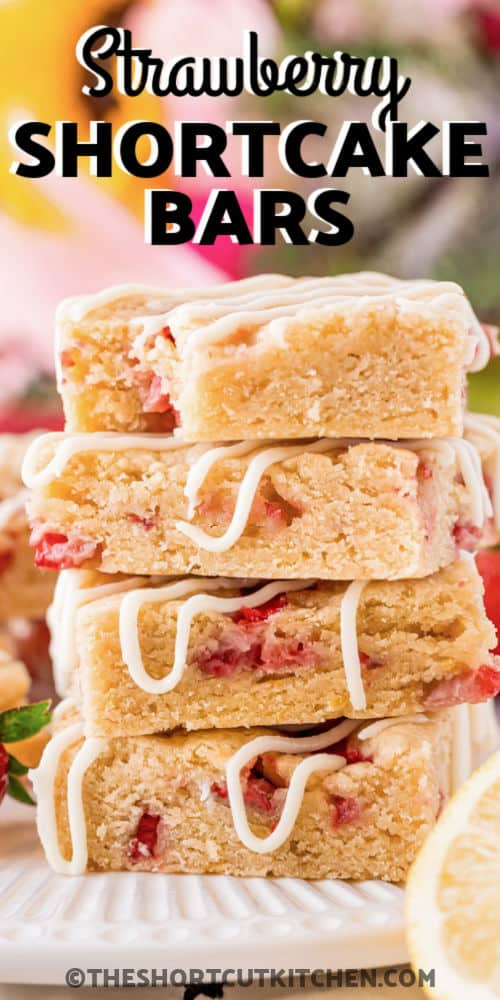 stack of Strawberry Shortcake Bars with writing