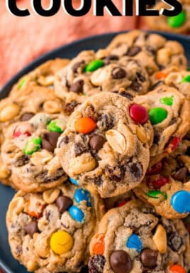 plated Trail Mix Cookies with a title