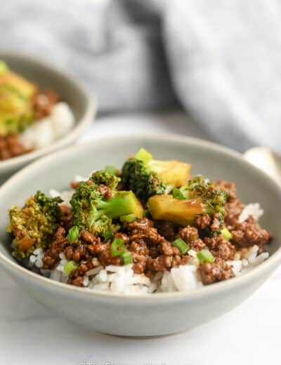 Ground Beef and Broccoli Stir Fry in a bowl with rice.