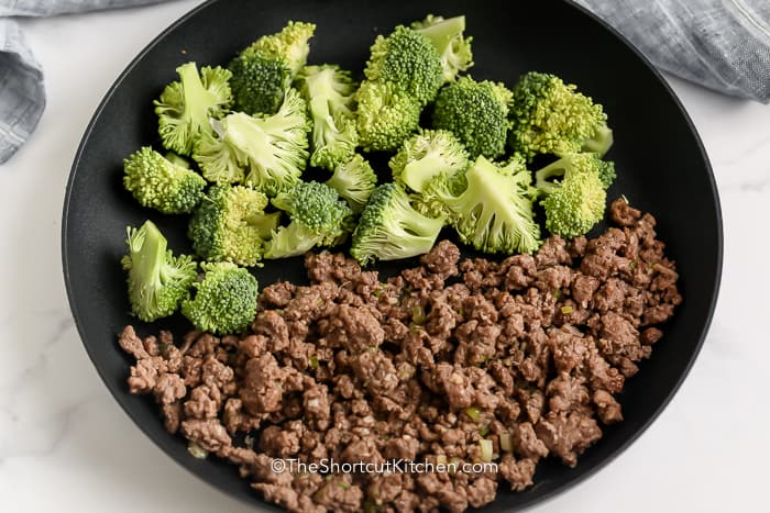 Ground Beef and Broccoli in a frying pan