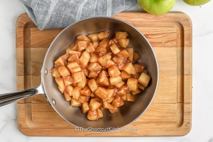Homemade Apple Pie Filling cooking in a pan