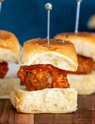 Meatball Sliders with red sauce