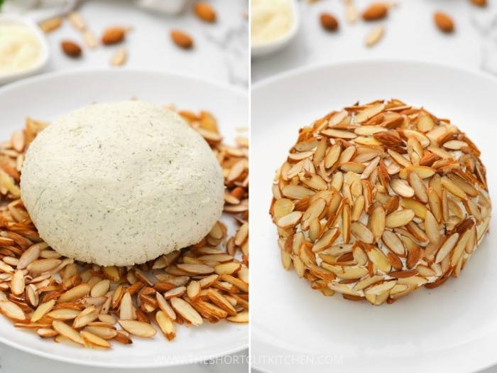 process of adding almonds to Parmesan Ranch Cheeseball