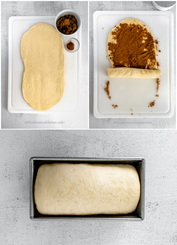process of rolling dough and placing in pan