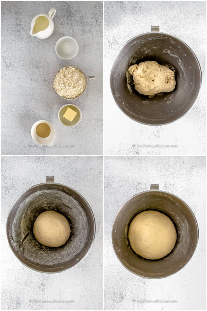 process of mixing ingredients and rising in bowl