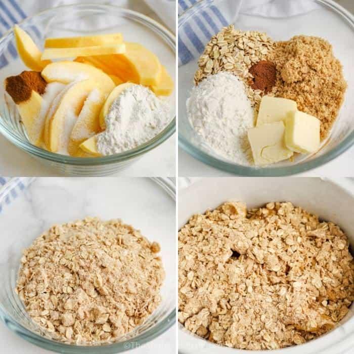 process of adding ingredients together to make Crock Pot Apple Crisp