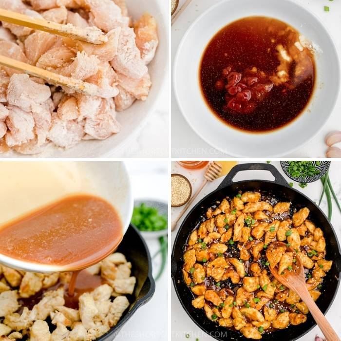 process of adding ingredients together and to pan to make Sweet & Sour Chicken