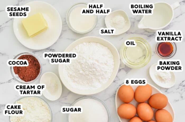 ingredients to make Cocoa Chiffon Cake