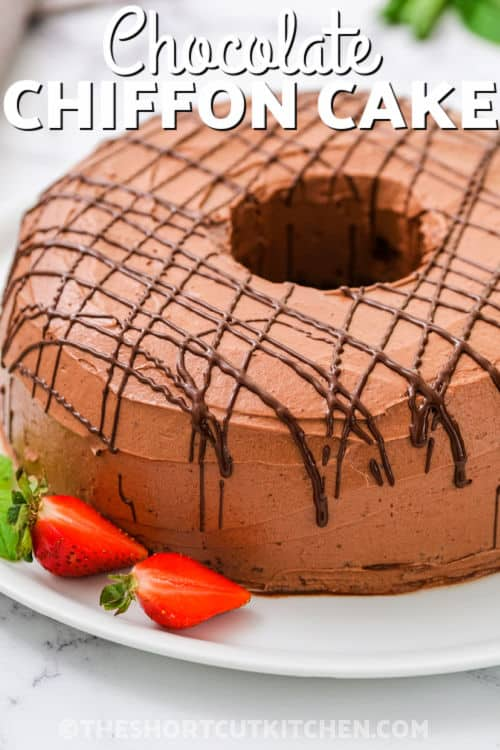 Cocoa Chiffon Cake with strawberries and writing