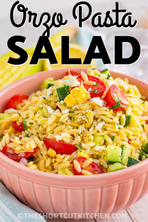 bowl of Orzo Pasta Salad with a title