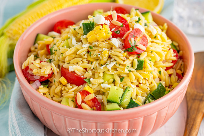 close up of Orzo Pasta Salad in a bowl