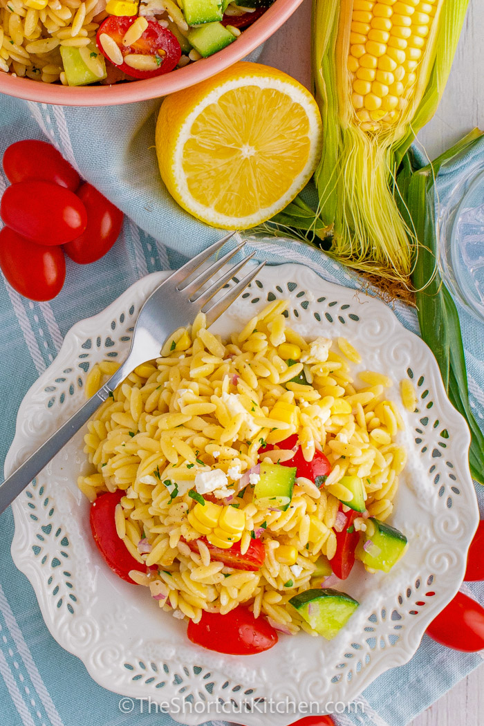 top view of Orzo Pasta Salad on a plate