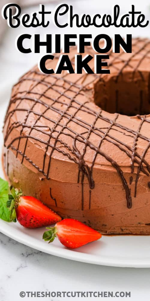 plated Cocoa Chiffon Cake with a title