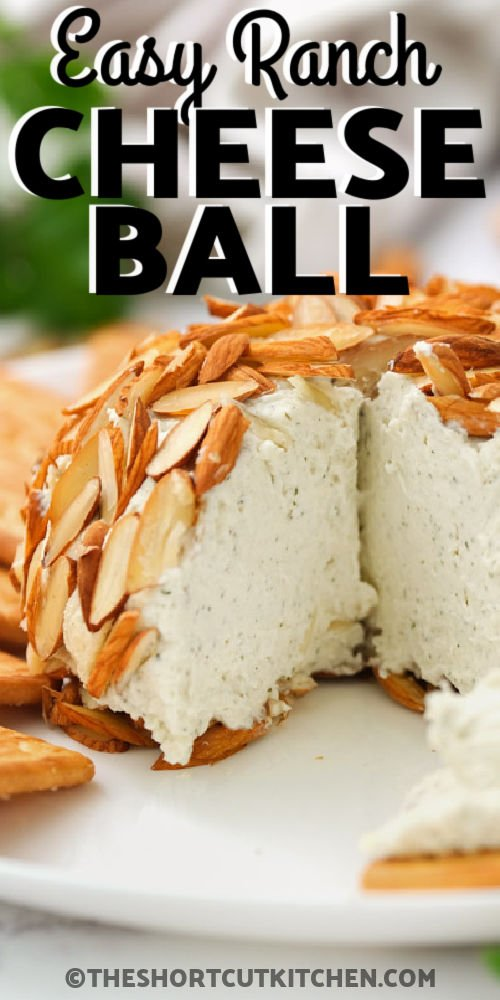 Parmesan Ranch Cheeseball with a piece taken out with a title