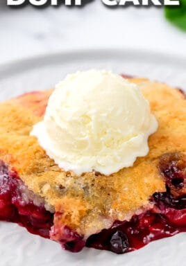 Mixed Berry Dump Cake with text